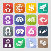The set of flat casino icons. — Stock Vector