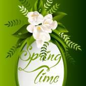 Fundo de primavera fresca com flores brancas e folhas — Vetor de Stock