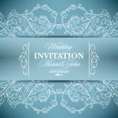 Wedding invitation card with floral elements — Stock Vector