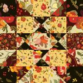 Seamless patchwork pattern with flowers — Stock Vector
