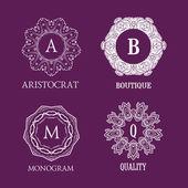 Set of elegant  monogram designs — Stock Vector