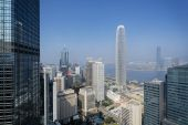 Elevated view of Hong Kong s business district. — Stock Photo