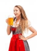 Bavarian girl isolated over white background — ストック写真