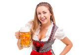 Bavarian girl isolated over white background — 图库照片
