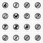 Allergen free icons — Stock Vector