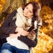 Smily brunet with cats — Stock Photo #56004385