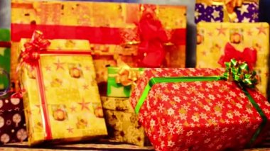 Colorful presents with bows and ribbons — Stock Video