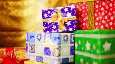 Colorful presents with bows and ribbons — Stockvideo