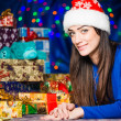Young brunet portrait at holiday background — Stock Photo #58693803