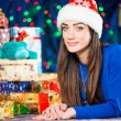 Young brunet portrait at holiday background — Stock Photo #58693805