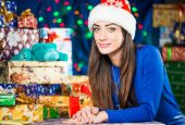 Young brunet portrait at holiday background — Stock Photo