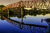 Sunrise Hanging Bridge — Stock Photo