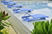 Turquoise Pool Benches  — Stock Photo