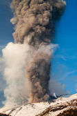 Mount Etna Eruption and lava flow — Stock Photo