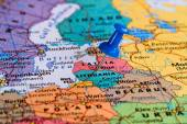 Map of Lithuania with a blue pushpin stuck — Stock Photo