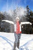 Having fun in winter scene — Stock Photo