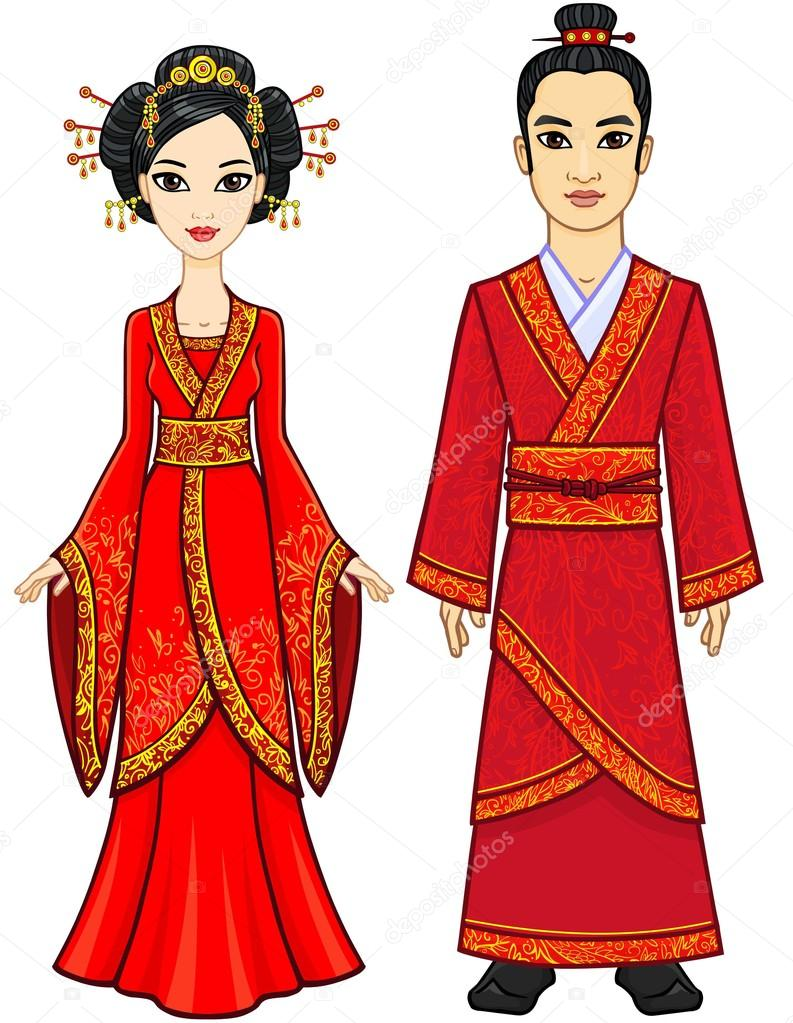 Portrait of an animation chinese family in traditional for Stand traditionnel