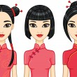 Three animation Asian girls — Stock Vector #62652939