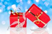 Gift Boxes with Ribbon on Blue — Stock Photo