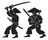 Samurai con arma — Vector de stock