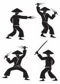 Samurai with weapon — Stock Vector