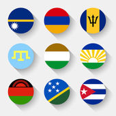 Flags of the world, round buttons — Stock Vector