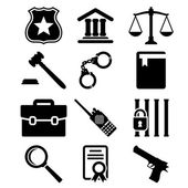 Law and justice icons set. — Stock Vector