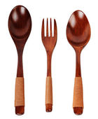 Two wooden spoon and fork — Stock Photo