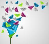 Rosa de papel — Vetor de Stock