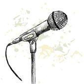 Sketch microphone. — Stock Vector
