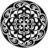 Kaleidoscopic floral tatoo. Mandala in black and white — Stock Vector