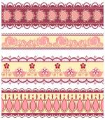 Set of ribbons with hearts and flowers in pink colour — Stock Vector
