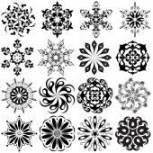 Set of round pattern tattoo. 16 Mandalas in black — Stock Vector