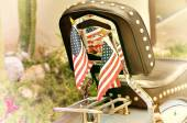 Motorcycle and flags — Stock Photo