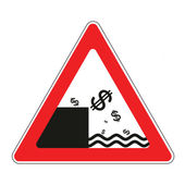 Road sign with concept of declining dollar — Stock Vector