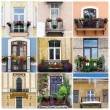 Photo collage with nine balcony pictures — Stock Photo #70822799