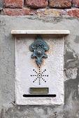 Traditional doorbell in Venice — Stock Photo