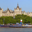 Victoria Embankment Early Morning Panorama with Whitehall & Boat — Stock Photo #52850263