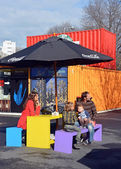 Family in Spring at the Restart Container Shops in Christchurch. — Stock Photo