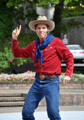 Cowboy Max at the World Buskers Festival, Christchurch, New Zeal — Stock Photo