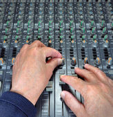 Hands Operating Music Mixing Desk — Stock Photo