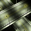 Highway with overpass bridge at night with lights closeup — Stock Photo #52554541