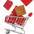 Shopping cart with gift boxes isolated on white — Stock Photo #52554669