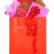 Gift boxes in a red shopping bag on white background — Stock Photo #52554907