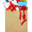 Gift boxes in a paper shopping bag on white background — Stock Photo #52554965
