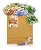 Euro banknotes in a shopping bag on white background — Stock Photo
