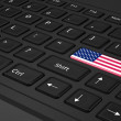 Black keyboard with USA flag on enter — Foto de Stock