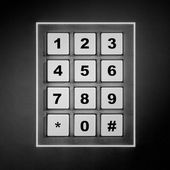 Security white numeric pad with black digits — Stock Photo