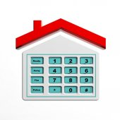 Security numeric pad in house shape symbol isolated — Stockfoto