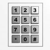 Security silver numeric pad isolated on white background — Stock Photo